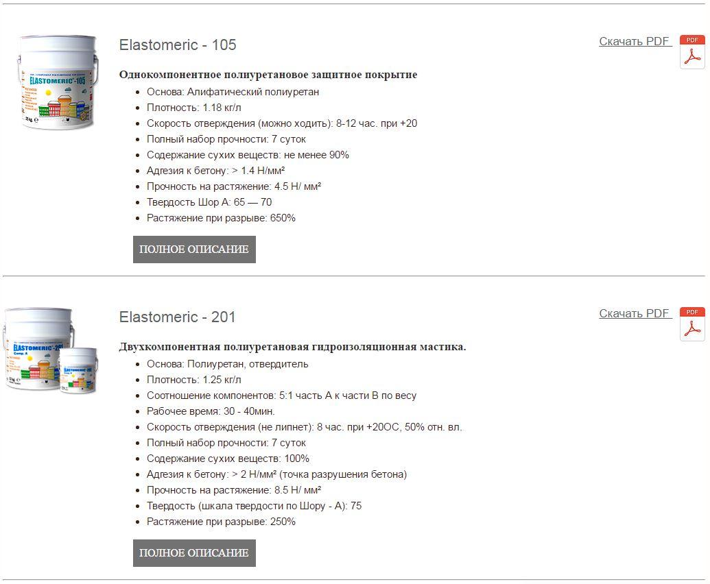 ELASTOMERIC Элсатомерик Полиуретановые ПУ мастики для ручного нанесения
