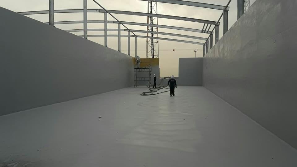 Напыление полимочевины на бетонный резервуар